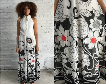 60s mod halter top maxi dress / 1960s black and white floral print dress