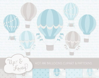 Soft Blue Hot Air Balloons Clipart with Digital Papers - blue hot air balloons clipart, hot air balloons vectors