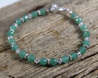 Bracelet / Faceted Aventurine and Swarovski Crystal / Green Bracelet / Gemstone Bracelet / Gifts for Her / Gifts for Women