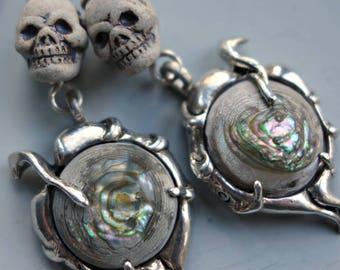 Skull Sterling Abalone Grim Reaper Earrings