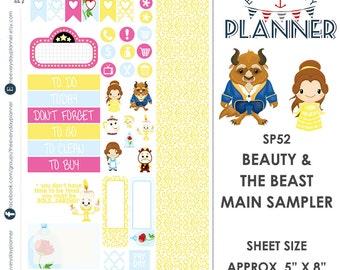 Beauty & the Beast Sampler Kit | Over 30+ Kiss-Cut Stickers | Erin Condren and Mambi  | Disney Inspired   SP52