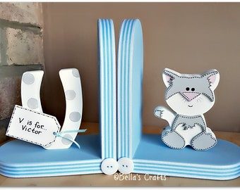 Personalised Cat Bookends for Children, Nursery Decor, Book lover, Bookends for Kids, Kids room decor, Bookshelf decor.