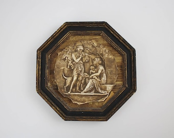 Vintage Chalkware Greek Revival Plaque in Wooden Octagon Picture Frame - Man Woman Child Dog Art