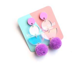 Berry Purple PomPom Drop Earrings - Rainbow Iridescent Earrings - Pastel Earrings - Pom Pom Earrings