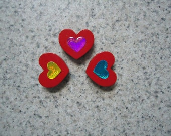Set of 3 Puffy Hearts on Tiny Wood Heart Magnets - Kitchen Decor