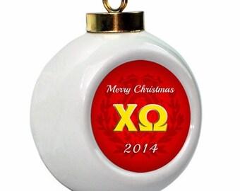 Chi Omega Christmas Ball Ornament with Logo