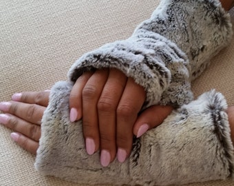 Silver Faux Fur Half Mittens, Lined Fingerless Gloves.