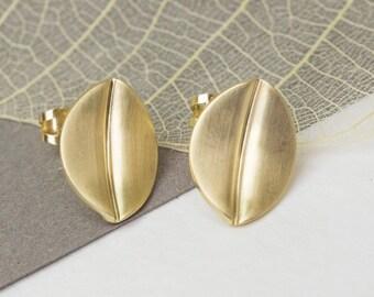 9ct Brushed Gold Leaf Stud Earrings