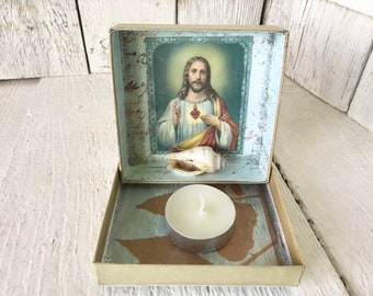 Little shrine prayer box Christ sacred heart icon blue upcycled embellished/ free shipping US