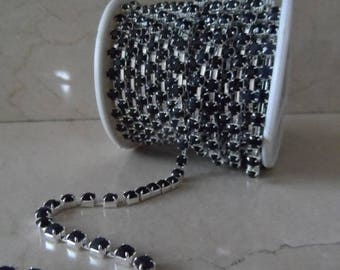 1 meter of 4 mm black and silver rhinestone chain trim