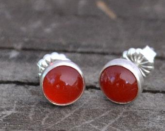 carnelian and sterling silver stud earrings
