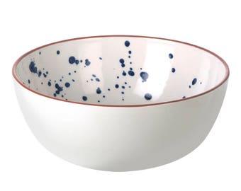 Blue splatter ceramic bowl
