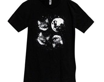 Mens Cat  T Shirt - Three Cat Moon Mens Shirt - (Available in sizes S, M, L, XL)