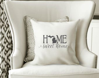 Michigan Pillow Cover, Michigan State Decor, Michigan, Housewarming Gift, Throw Pillow, Home Pillow, State Pillow, Pillow Cover,Wedding Gift