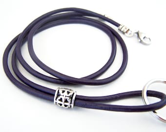 Leather Lanyard, Dark Purple, 3mm Leather, 28-38 inchs, Mens Lanyard, Id Lanyard, Badge Holder, Eyeglass Lanyard, Id Holder