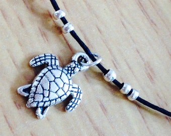 Silver Turtle choker necklace