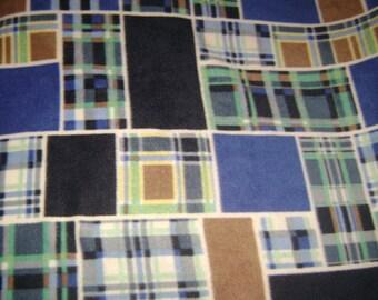 Blue Plaid fleece blanket