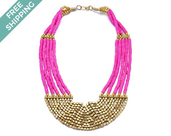 Hot Pink & Gold Beaded Costume Jewelry Necklace