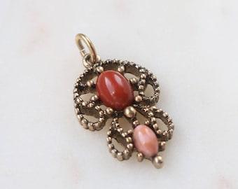 Antique Gold Avon Pendant - Filigree Bead Pendant