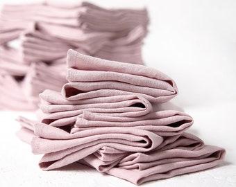 Bulk of 50 Linen Napkins in blush pink color perfect as wedding napkins or dinner napkins