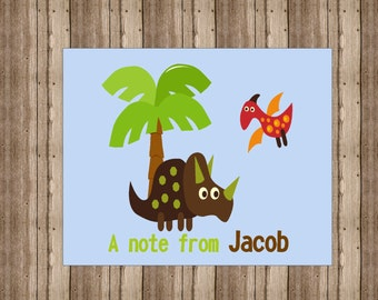 PERSONALIZED NOTECARDS for BOYS /  Dinosaur Notecards/ Boxed Triceratops Stationery/ Set of 10 / Dinosaur Party Thank You Cards
