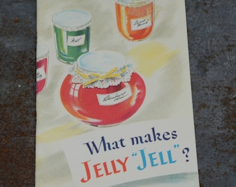 Vintage Recipe Book, Jelly Recipes, Kitchen Advertising Booklet, What Makes Jelly Jell, Certo and Sure Jell Advertising, Kitchen Collectible