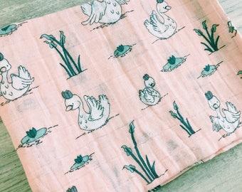 The blanket, cotton, chiffon swans
