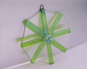 Fused Glass Snowflake Suncatcher - Lime Green & Dichroic Glass Accents - Iridized Glass Snowflake - Glass Christmas Ornament - Hostess Gift