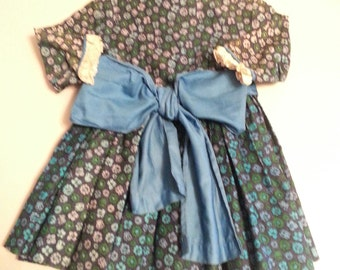Vintage Floral Childs Dress with Bow