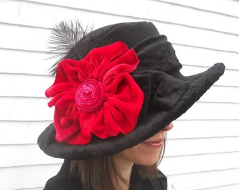 Wide Brim Polar Fleece Opera Hat with Silk Velvet Flower -- Millie
