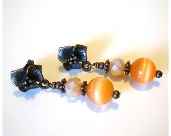 Handmade pendant earrings bronze orange - Dangle drop earrings