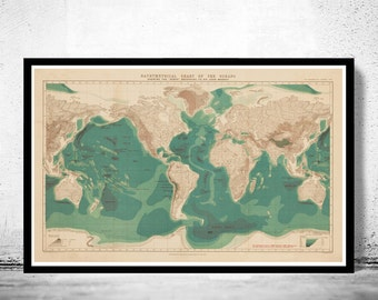 Bathymetrical chart of the oceans world map 1899