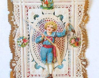 late 1800's Victorian boy Valentine's Day Card; antique dimensional pop up layered lace; yesteryears Edwardian; old fashioned card ephemera