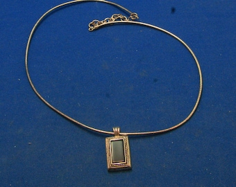 Vintage 70s 925 Sterling Silver Onyx Pendant Wire Adjustable Choker Necklace