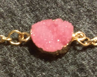 Rose Quartz Druzy necklaces gold 16.5 inch chain with 2 inch extender
