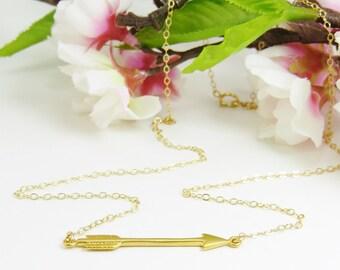 Gold Arrow Necklace, Floating Arrow on thin Gold Chain, Arrow Jewelry, Gold Sideways Arrow Necklace, Archery Jewelry