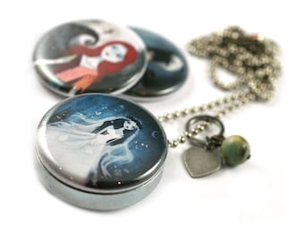 Tim Burton Locket Necklace - 3 in 1 - Personalized / Recycled - Interchangeable Magnetic Lids - TheNebulousKingdom X Polarity