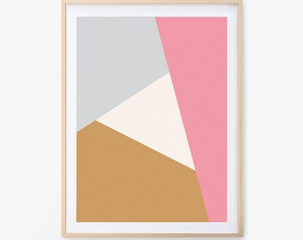 Modern Art Print, Printable Wall Art, Wall Art, Digital Download, Screenprint, Minimal, Geometric, Modern, Triangle, Pink and Gray