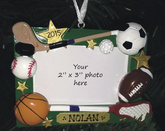 50% OFF Sports Frame Ornament FREE SHIP / Personalized & Gift Wrapped Frame with Stand/Ornament, Coach Gift / Lacrosse, Basketball, Hockey