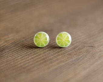 Lime Stud Earrings, citrus fruit, summer ear studs, acidulate