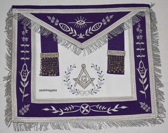 Masonic Apron-Master Mason Royal Purple Silver Fringe G