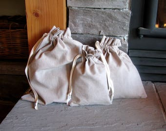 Fabric Gift Bags, Drawstring Bag, Drawstring Pouch, Washable, 6x8, 10x10, 12x14, Hemp, Cotton, Linen, Reusable