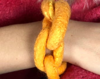 Soft & Tough: Yellow Gold, Chunky Chain Bracelet, Arm Candy, Wristband, Statement Jewelry, Breaking the Chain, Felt Armband, Wool