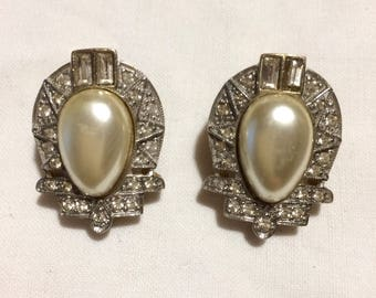 Earrings faux Pearl silver and gold Vintage