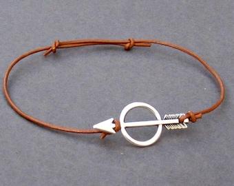 Arrow Silver Bracelet, Unisex Leather Cord Bracelet His And Hers Silver Dainty Bracelet Adjustable