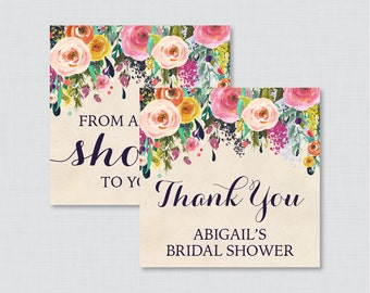 Floral Bridal Shower Favor Tags Printable - Garden Bridal Shower Favor Tags, Thank You Tags - From My Shower to Yours Shabby Chic 0002-A