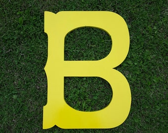 """Wooden letters 30"""" letter B wedding guest book western style yellow"""