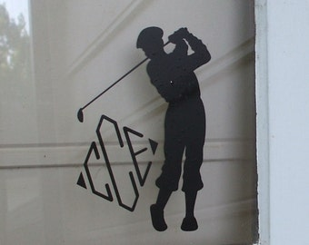 Golfer Monogram Vinyl Decal