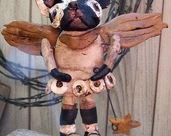 Vintage Folk Art French Bulldog Angel Doll Ooak Original