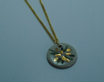 Handcrafted Ceramic Necklace   Circle Bursts in Greens with Real Gold Accents